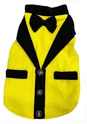 Yellow Velvet Tuxedo Dog Jacket with a Black Bow