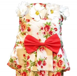 Floral Print Embellished Dress with Red Bow and White Flower