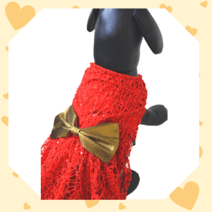 Red Spider Net Dress with Shantoon lining and a Gold Lycra Bow