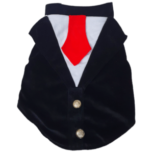 Black and White Velvet Tuxedo with Red Tie at back and Red Bow in front