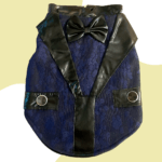 Jacquard Blue and Black Tuxedo with Black Bow and pocket