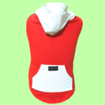 Red T-Shirt with White Hoodie with a pocket