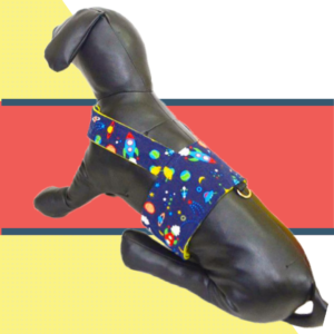 Blue Outer space Design Body Harness For Dogs & Cats with D - For Leash