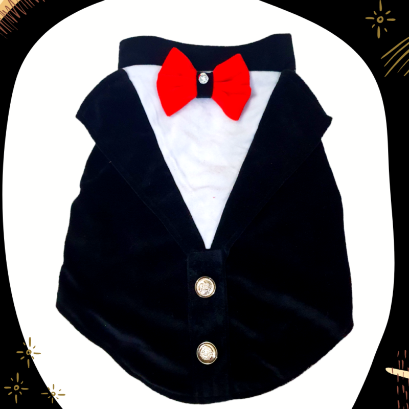 Black and White Velvet Tuxedo with Red Bow in front and back