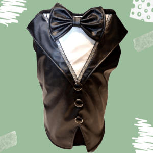 Black Faux Leather Tuxedo with Bow and buttons