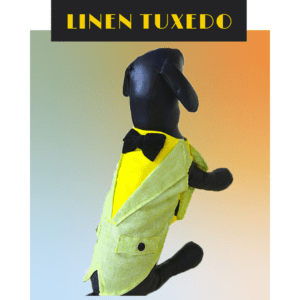 Lemon Green and Yellow Linen Tuxedo with Black Bow on back and front