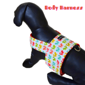 White Denim Body Harness with Cat print with a D - ring for Leash