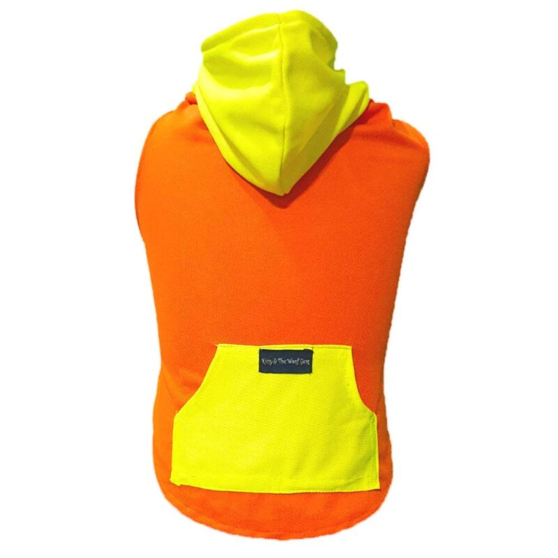 Orange T-Shirt with Yellow Hoodie with a Pocket