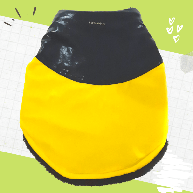 Yellow Velvet with Black Lycra top Winter Jacket for Dogs