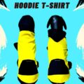 Yellow T-Shirt with Black Hoodie with a Pocket