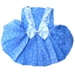 Blue Cotton Dress With White Bow & Neck Lace | Dress For Dogs & Cats