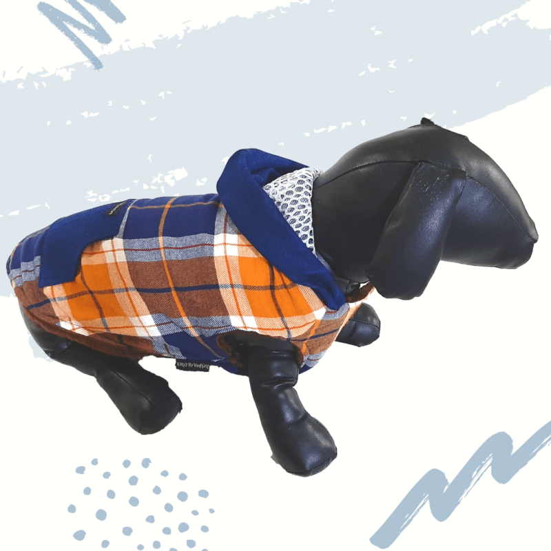 Blue White Check Jacket With Denim Hoodie & Pocket Winter Wear | Thick Soft Lining For Cats & Dogs