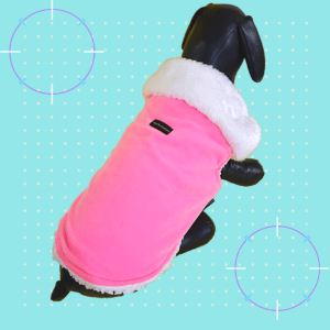 Pink Velvet Winter Jacket With White Collar & Soft Warm White Lining | Dogs & Cats