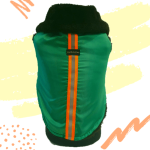 Green Waterproof Jacket With Black Hood & Thick Soft Warm Lining   Dogs & Cats