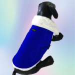Blue Velvet Winter Jacket With White Collar & White Soft Warm Lining | Dogs & Cats