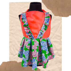 Neon Orange Dress With Vibrant Green Floral Skirt   Dress for dogs & Cats