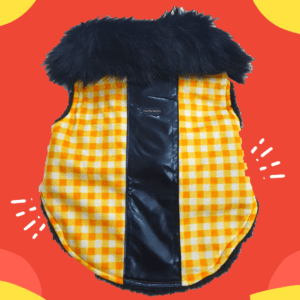 Yellow White Check Jacket With Black Faux Fur, Soft & Thick Lining | Cats & Dogs