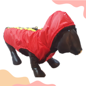 Red Waterproof Hoodie Jacket With Reflector & D For Leash   Winter Wear For Dogs & Cats