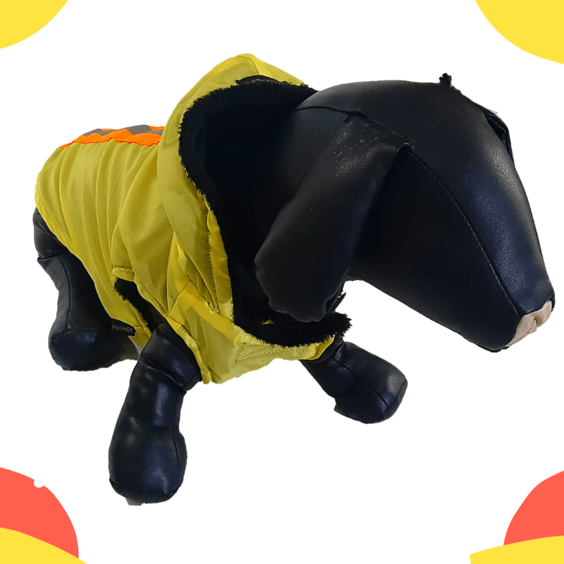 Yellow Waterproof Hoodie Jacket With Reflector & D For Leash   Winter Wear For Dogs & Cats