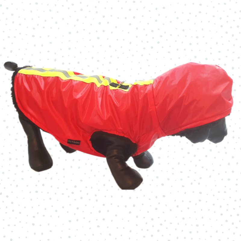 Red Waterproof Hoodie Jacket With Reflector & D For Leash | Winter Wear For Dogs & Cats