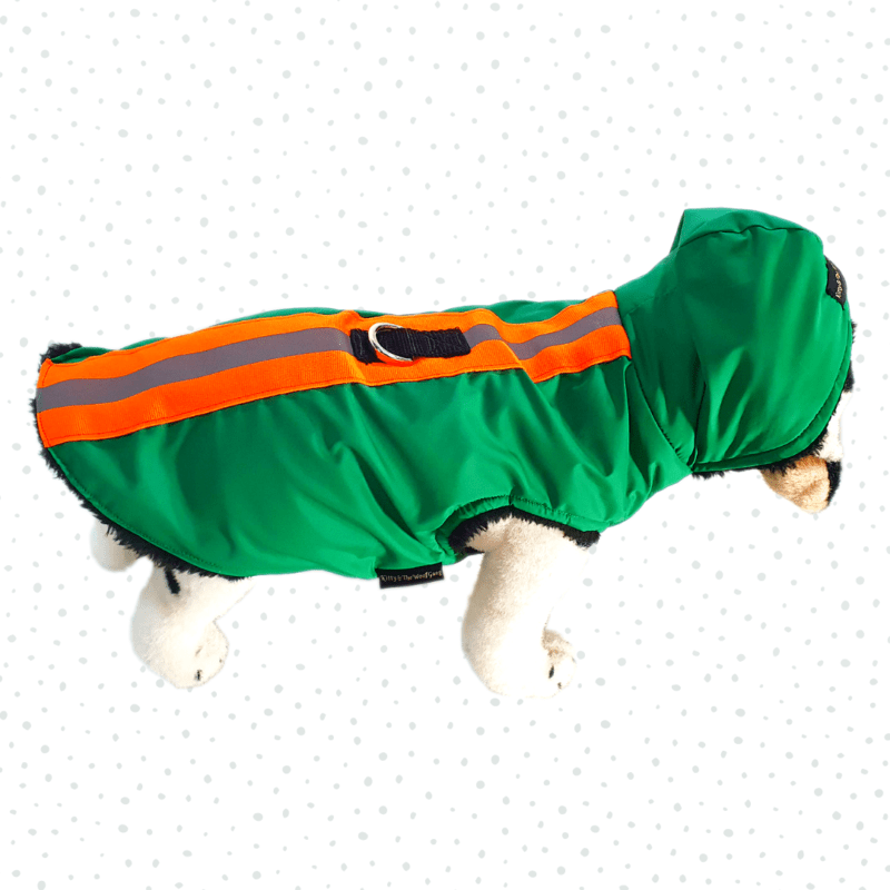 Green Waterproof Hoodie Jacket With Reflector & D For Leash | Winter Wear For Dogs & Cats