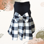 Black & White Check Skirt, Black Top With Check Bow | Dress For Dogs & Cats