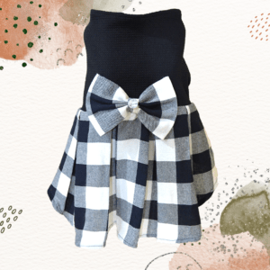 Black & White Check Skirt, Black Top With Check Bow   Dress For Dogs & Cats