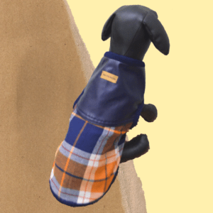 Check Shirt With Faux Leather Top & Blue Rib - Adjustable | Dogs & Cats