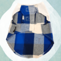 Blue Check Shirt - White Top - Adjustable   Dogs & Cats