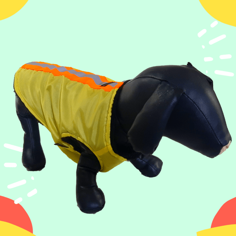 Waterproof Yellow Winter Jacket With Reflector & Black Soft & Warm Lining | Dogs & Cats