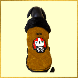 Gold Jacket With Sequence Patch & Warm Soft Thick Lining | Dogs & Cats