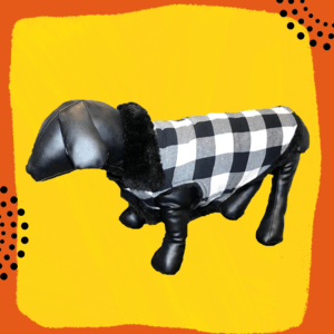 Black & White Check Winter Jacket With Black Fur Collar | Thick Soft Lining | Dogs & Cats