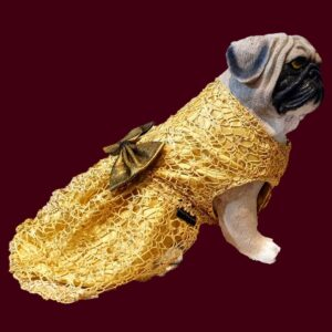 Gold Spider Net Dress With Gold Bow   Gown For Dogs & Cats