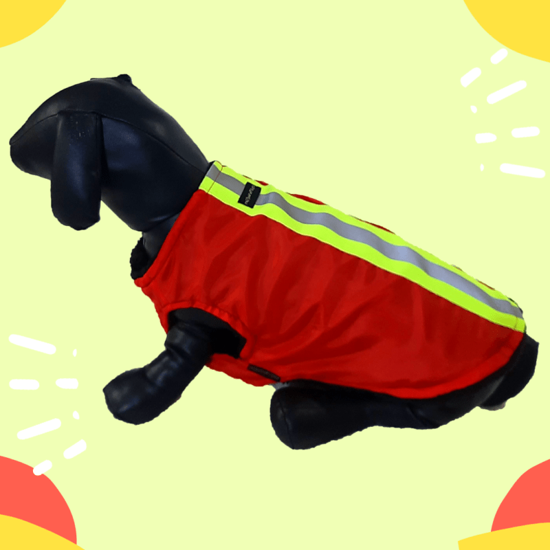 Waterproof Red Winter Jacket With Reflector & Black Soft & Warm Lining   Dogs & Cats