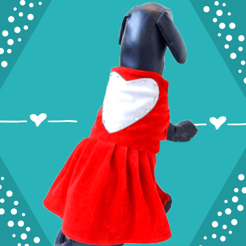 Red Love Dress With Big White Heart & Embellishments | Dress For Dogs & Cats