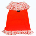 Neon Orange Slip On Dress With Vibrant Frill For Dogs & Cats