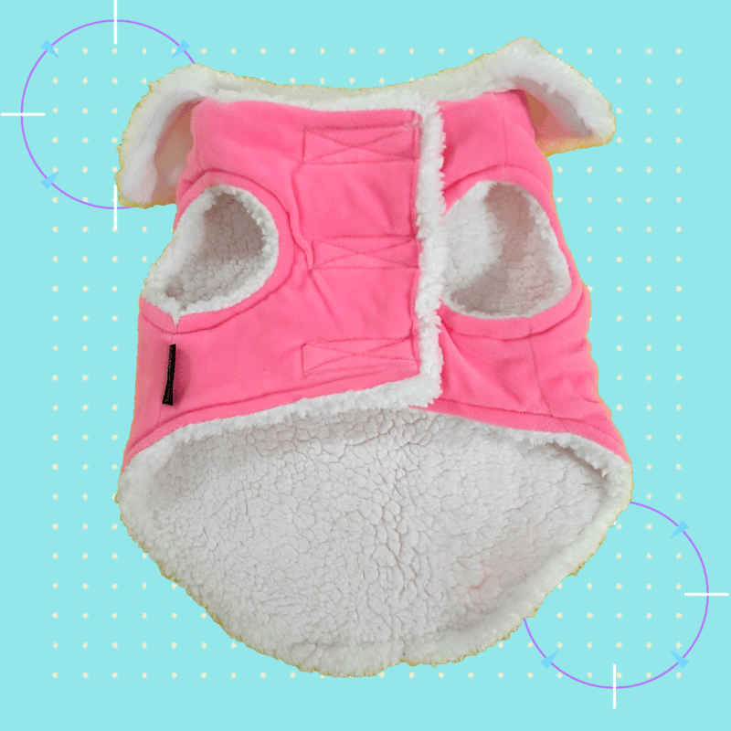 Pink Velvet Winter Jacket With White Collar & White Soft Warm Lining | Dogs & Cats