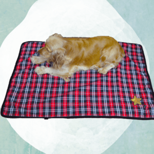 Very soft Check Blanket - Mat - Rug with plain Black on the other side
