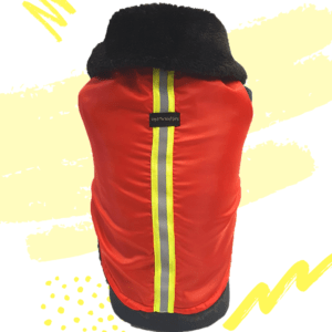 Red Waterproof Jacket With Black Hood & Thick Soft Warm Lining | Dogs & Cats