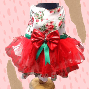 Floral Gown With Red Net Skirt & Red Bow With Green Tassel   Dog & Cat Dress